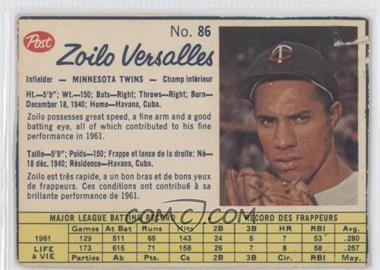 1962 Post Canadian - [Base] #86 - Zoilo Versalles