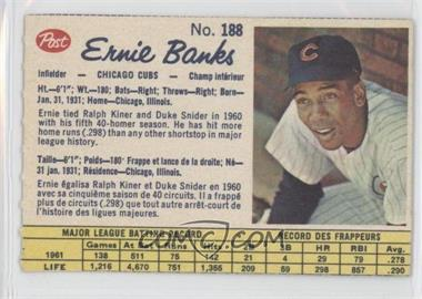 1962 Post Canadian #188 - Ernie Banks