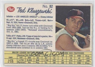 1962 Post Canadian #82 - Ted Kluszewski