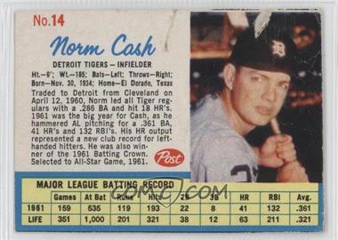 1962 Post #14 - Norm Cash [Authentic]