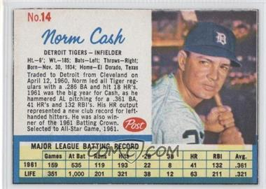 1962 Post #14.1 - Norm Cash (Throws right) [Authentic]