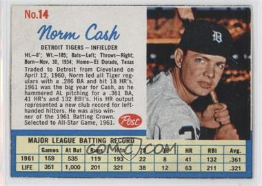 1962 Post #14.1 - Norm Cash (Throws right)