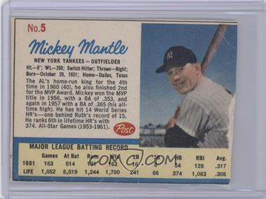 1962 Post #5.1 - Mickey Mantle (Post logo on back)