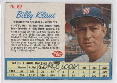 1962 Post #67 - Billy Klaus