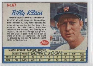 1962 Post #67 - Billy Klaus