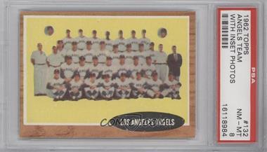 1962 Topps #132.2 - Los Angeles Angels Team (Green Tint) [PSA8]