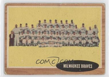 1962 Topps #158 - Milwaukee Braves Team