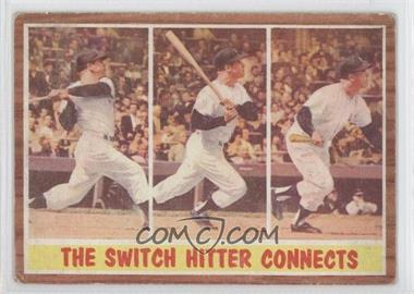 1962 Topps #318 - The Switch Hitter Connects (Mickey Mantle)