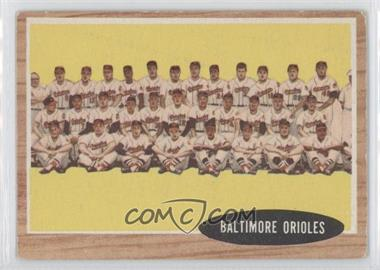1962 Topps #476 - Baltimore Orioles Team