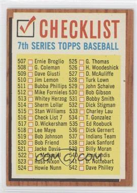 1962 Topps #516 - Check List 7 (White check boxes)