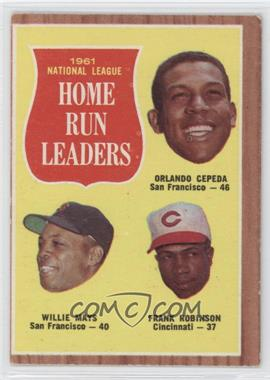 1962 Topps #54 - 1961 National League Home Run Leaders (Orlando Cepeda, Willie Mays, Frank Robinson)