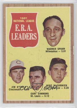 1962 Topps #56 - 1961 National League E.R.A. Leaders (Warren Spahn, Jim O'Toole, Curt Simmons, Mike McCormick)
