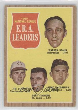 1962 Topps #56 - 1961 National League E.R.A. Leaders (Warren Spahn, Jim O'Toole, Curt Simmons, Mike McCormick)