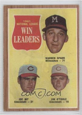 1962 Topps #58 - 1961 National League Win Leaders (Warren Spahn, Joe Jay, Jim O'Toole)