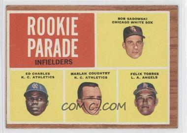1962 Topps #595 - Rookie Parade - Bob Sadowski, Ed Charles, Marlan Coughtry, Felix Torres