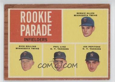 1962 Topps #596 - Rookie Parade - Bernie Allen, Rich Rollins, Phil Linz, Joe Pepitone