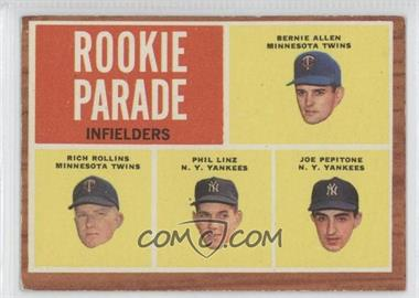 1962 Topps #596 - Rookie Parade Infielders (Bernie Allen, Rich Rollins, Phil Linz, Joe Pepitone)