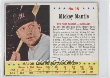 1963 Jell-O - [Base] #15 - Mickey Mantle