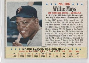 1963 Post - [Base] #106 - Willie Mays
