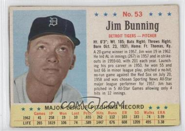 1963 Post - [Base] #53 - Jim Bunning [Good to VG‑EX]