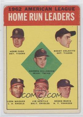 1963 Topps - [Base] #4 - 1962 American League Home Run Leaders (Norm Cash, Rocky Colavito, Harmon Killebrew, Leon Wagner, Jim Gentile, Roger Maris) [GoodtoVG‑EX]