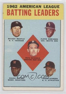 1963 Topps #2 - 1962 American League Batting Leaders (Mickey Mantle, Floyd Robinson, Pete Runnels, Chuck Hinton, Norm Siebern)