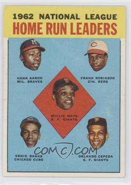 1963 Topps #3 - 1962 NL Home Run Leaders (Hank Aaron, Frank Robinson, Willie Mays, Ernie Banks, Orlando Cepeda)