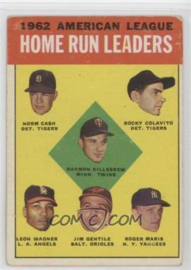 1963 Topps #4 - American League Home Run Leaders (Norm Cash, Rocky Colavito, Harmon Killebrew, Leon Wagner, Jim Gentile, Roger Maris) [GoodtoVG‑EX]