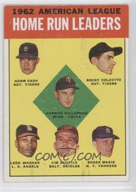 1963 Topps #4 - American League Home Run Leaders (Norm Cash, Rocky Colavito, Harmon Killebrew, Leon Wagner, Jim Gentile, Roger Maris)