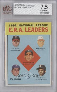 1963 Topps #5 - National League ERA Leaders (Bob Shaw, Bob Purkey, Sandy Koufax, Don Drysdale, Bob Gibson) [BVG 7.5]