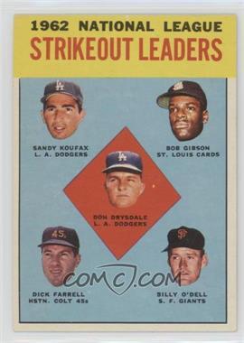 1963 Topps #9 - Don Drysdale, Sandy Koufax, Bob Gibson, Turk Farrell, Billy O'Dell