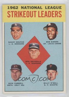 1963 Topps #9 - Don Drysdale, Sandy Koufax, Bob Gibson, Turk Farrell, Billy O'Dell