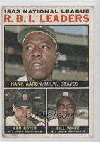 1963 National League R.B.I. Leaders (Hank Aaron, Ken Boyer, Bill White) [Poor&n…