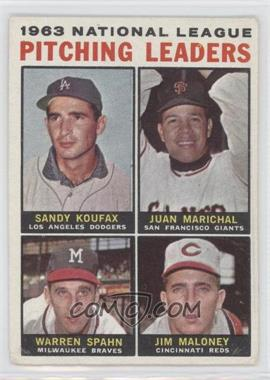 1964 Topps #3 - 1963 National League Pitching Leaders (Sandy Koufax, Juan Marichal, Warren Spahn, Jim Maloney)