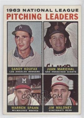 1964 Topps #3 - 1963 National League Pitching Leaders (Sandy Koufax, Juan Marichal, Warren Spahn, Jim Maloney)