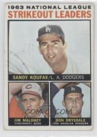 Sandy Koufax, Jim Maloney, Don Drysdale [Good to VG‑EX]