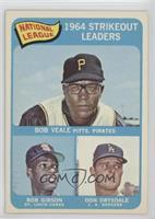National League 1964 Strikeout Leaders (Bob Veale, Bob Gibson, Don Drysdale)