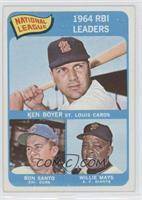National League 1964 RBI Leaders (Ken Boyer, Ron Santo, Willie Mays)