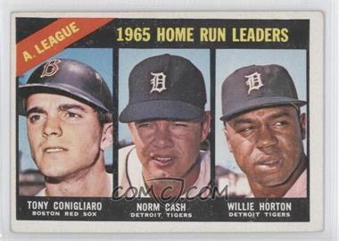 1966 Topps #218 - A. League Home Run Leaders (Tony Conigliaro, Norm Cash, Willie Horton)