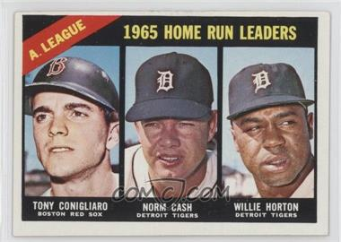 1966 Topps #218 - A. League Home Run Leaders (Tony Conigliaro, Norm Cash, Willie Horton)
