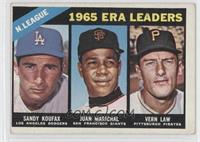 1965 ERA Leaders (Sandy Koufax, Juan Marichal, Vern Law)