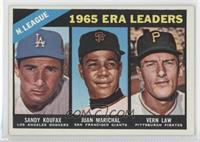 1965 ERA Leaders (Sandy Koufax, Juan Marichal, Vern Law) [Good to VG&…