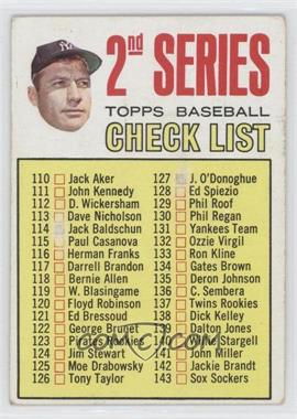 1967 Topps #103.2 - 2nd Series Checklist (Mickey Mantle) (Period in #170 D. Mcauliffe streaked) [GoodtoVG‑EX]