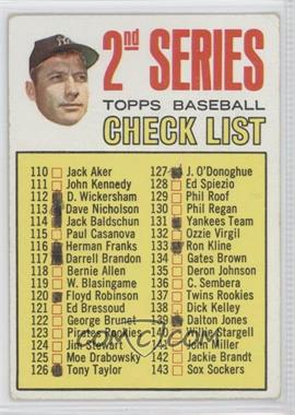 1967 Topps #103.2 - 2nd Series Checklist (Mickey Mantle) (Period in #170 D. Mcauliffe streaked) [Good to VG‑EX]