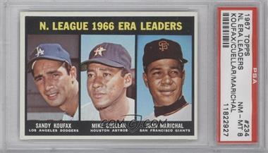 1967 Topps #234 - Sandy Koufax, Mike Cuellar, Juan Marichal [PSA8]