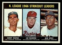 N. League Strikeout Leaders (Sandy Koufax, Jim Bunning, Bob Veale) [NM]