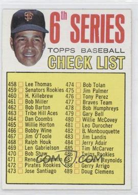 1967 Topps #454 - 6th Series Checklist, Juan Marichal