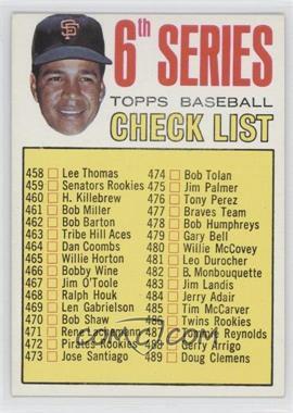 1967 Topps #454 - 6th Series Checklist, Juan Marichal