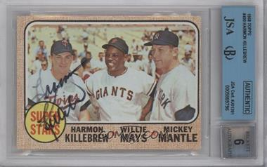 1968 Topps #490 - Super Stars (Willie Mays, Mickey Mantle, Harmon Killebrew) [BGS/JSA Certified Auto]