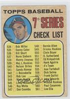 7th Series Checklist (Clete Boyer) (539 is Maj. L. Rookies)